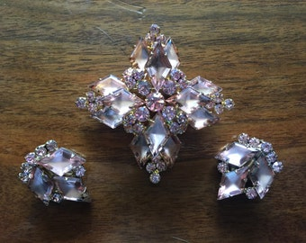 Chunky Rose Colored Juliana Brooch and Earrings Set