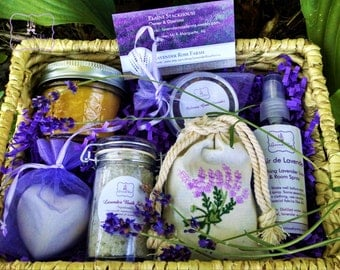 Lavender Lover's Gift basket.  Bath salts, sachet, soap, beeswax candle, floral water, culinary lavender. Mother's Day Gift, Birthday Gift