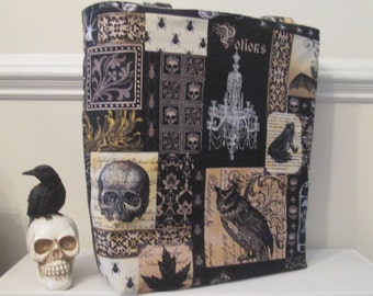Large Reversible Edgar Allen Poe Tote Bag