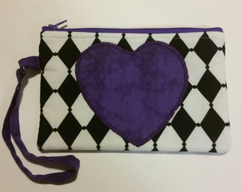 Purple heart on black and white wristlet, Gift for her, Birthday gift