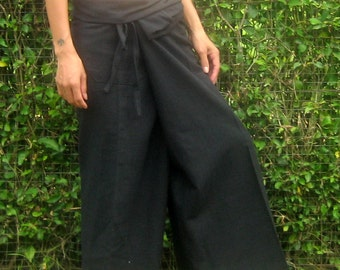 Thai Fisherman Pants Wrap Yoga Pants Thai Pants Maternity Pants Meditation Pants Burning Man Pants Tai Chi Pants Pantalon Tailandes*black*LF