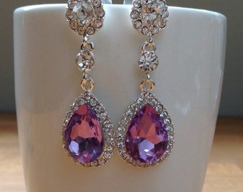 Stunning long, silver, purple crystal bridal earrings