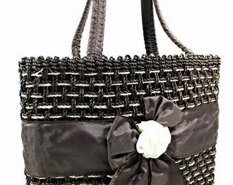 Straw Handbags Dark Brown Silk Ribbon