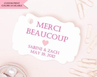 Merci tag (30) - Merci gift tags - Paris baby shower - Paris wedding favor - Wedding favor tag - Wedding gift tags