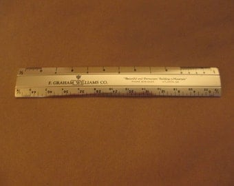 Vintage Silver Metal Double-Sided Advertising Ruler - F. Graham Williams Co. of Atlanta