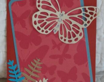 Butterfly and Ferns Handmade Notecard /Handmade notecard