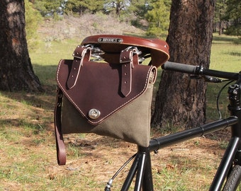 Bicycle Bag, Wristlet / Clutch, Dark Brown Leather and Olive Waxed Canvas, Hand Made in USA