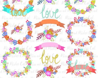 "Premium Floral Wreaths Cliparts. Floral Wreaths vector graphics, Premium pack. Commercial use. Model ""Premium Floral Wreaths 2"""