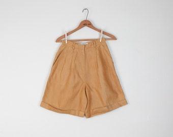 Vintage Linen Shorts / Minimalist / Yellow Ochre Mustard / High Waist / XXS XS