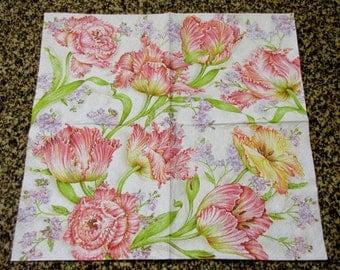 """6 Decoupage Napkins Flowers/Floral Tulips 33x33 cm. 13""""x13"""" set of 6 pcs"""