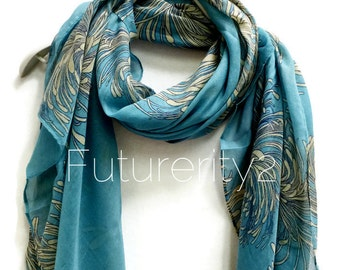 Chrysanthemum Flower Teal Blue Scarf / Spring Summer Scarf / Autumn Scarf / Gifts For Her / Women Scarves / Accessories / Handmade
