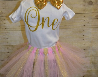 "First Birthday ""One"" Tutu Outfit-One-Gold-Birthday Girl"