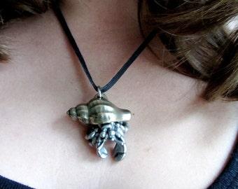 Hermit Crab Pendant, Hermit Crab Necklace, Crab Pendant, Crab Necklace