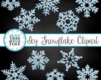 Icy Snowflake Clip Art -winter clipart, digital snowflake, christmas clipart, winter snowflake, christmas snowflake