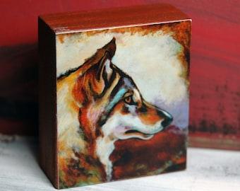 Gray Wolf - Original Art Block Print - by Corina St. Martin