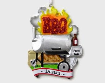 SHIPS FREE - BBQ Personalized Ornament - Grill Ornament - Barbeque Ornament