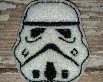Set of 4 Star Wars Storm Trooper Face Feltie Felt Embellishment Bow! Birthday Party Oversize Large Oversized