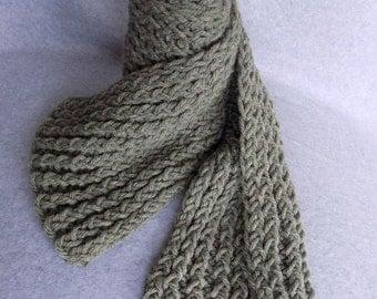Chunky Knit Scarf ~Earthy Green