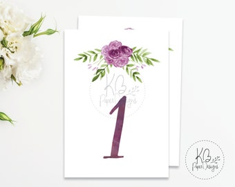 Watercolor Floral Table Numbers | Wedding Tables | Purple Flowers | 4x6 | Instant Download