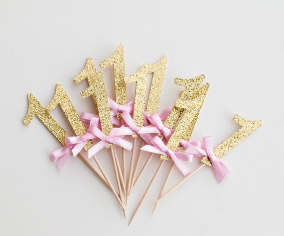 One Cupcake Toppers, Number Cupcake toppers, First Birthday Pink and Gold Party Decorations. Gold One Picks. Winter ONEderland  - 12PC