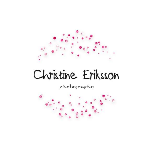 custom premade logo design sparkle pink dots by seasidedigital