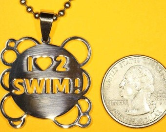 I Love To Swim, Stainless Steel, Shiny Polished Finish Charm-Handmade rubber cord and Stainless Steel chain necklace incl.