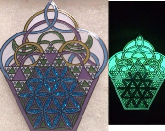 Sacred Geometry Cosmic Cupcake Glow In The Dark Pin