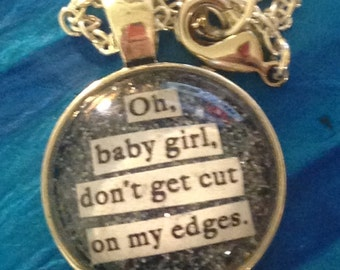 """Halsey Badlands Young Gods """"Oh, baby girl, don't get cut on my edges"""" lyric quote necklace"""