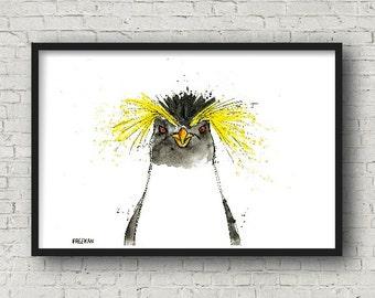Rockhopper Penguin.  Greetings card / Art Print