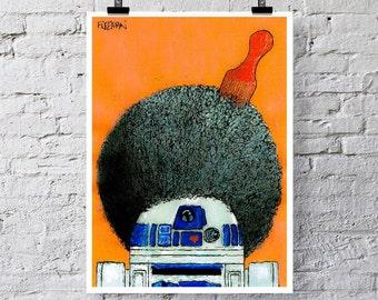 Retro R2-D2 Afro.  Star Wars Art print