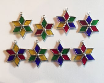 Handmade Stained Glass Multi-Color Six-Point Star Ornament/Suncatcher