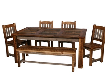 Natural Barn Wood Dining Table Set, Dining Room Furniture, Rustic Table Set, Dining Room Furniture