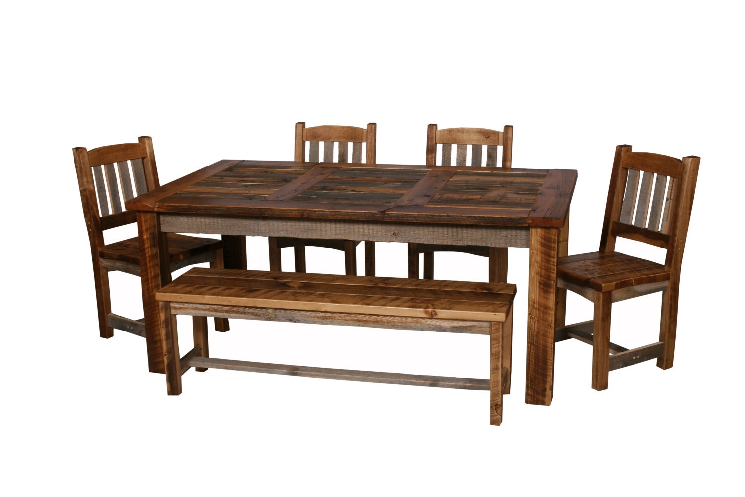 Natural barn wood dining table set dining room furniture for Wood dining table set
