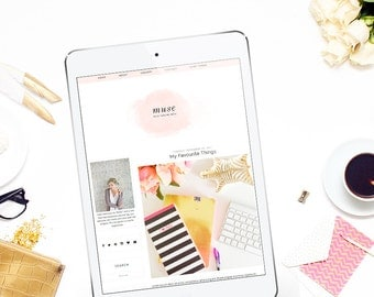 Responsive Premade Blogger Template - Clean Blog Design - Watercolor Blog Theme - Pink Blog Template - Minimalist Template