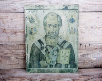 Old Russian Icon on Canvas, St. Nicholas, 1976, Orthodox Christianity Wall Decor, Christian Relic, Christian Handpainted Icon, Religious Art