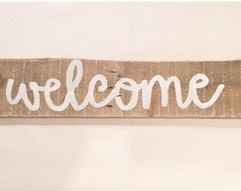 Welcome - welcome sign - rustic decor - rustic - rustic home decor
