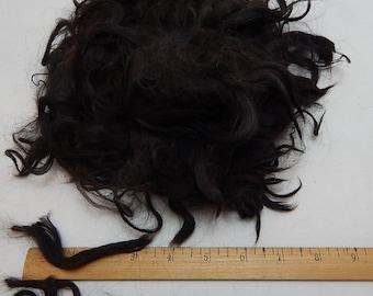 Suri Alpaca Fleece, Raw Suri Locks, Spinning, Doll Hair, Black, 2 Ounces