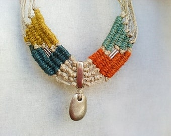 Fiber tribal necklace, Bohemian necklace, Statement collar necklace, Gifts for her, Woven fiber jewelry, Tribal jewelry, Ethnic necklace