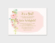 Girl Baby Shower Invitation Printable It's A Girl Shower Invite Rose Drop Baby Shower Invitation Pink and Aqua Shower 5x7 Digital File