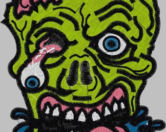 Zombie Face 4 x 4 Full Stitch  Embroidery Design Digitized