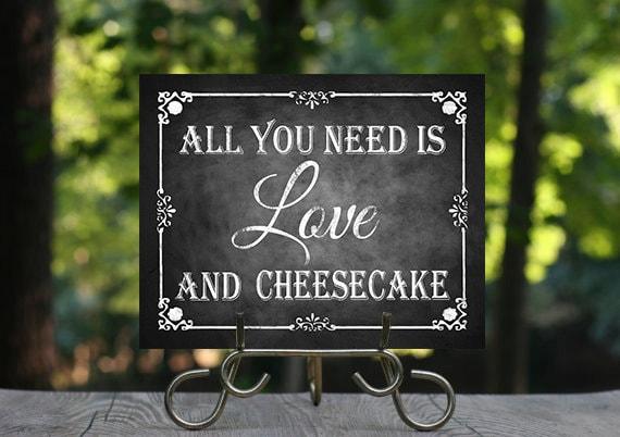 Cheesecake Wedding Chalkboard Sign Printable Chalkboard