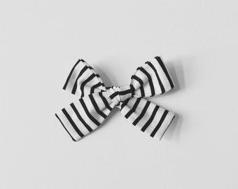 Fabric Bow - Black and White Mini Stripe