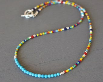 Turquoise beaded necklace, boho chic gemstone necklace, womens beaded necklace, teen necklace, beaded layering necklace, gift for her
