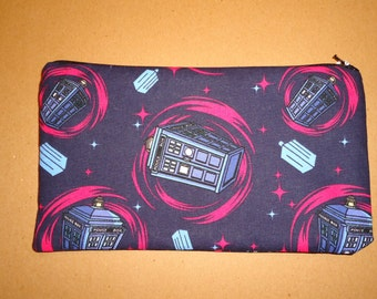 Doctor Who Tardis Fabric Pencil Pouch Clutch Purse