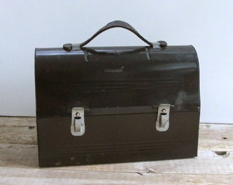 Vintage Workman's Metal Lunch Pail Black with Leather Handle