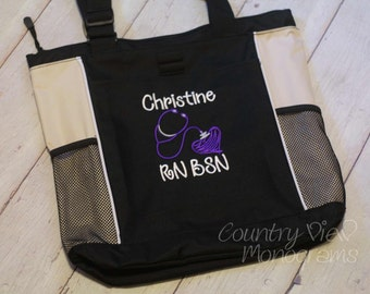 Personalized Nurse Tote Bag--Nursing or Health Professions Embroidered Zippered Tote Bag--Nursing Gift or Graduation Gift