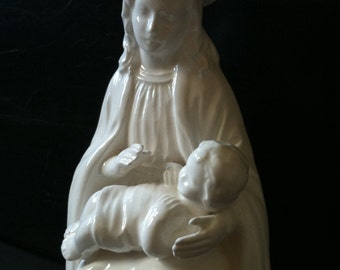 Vintage Virgin Mary and Baby Jesus Statue by Art Japan