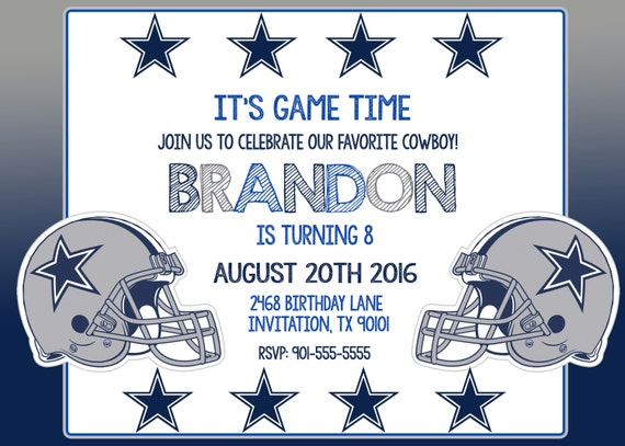 Dallas Cowboys Invitation Dallas Cowboys Birthday Invitations – Dallas Cowboys Birthday Invitations
