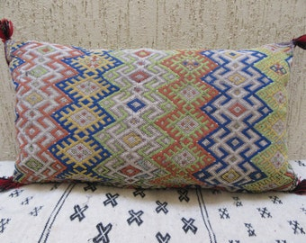 "21"" x15"" Vintage Home Decor Moroccan Kilim Lumbar  Pillow Cover- Decorative Throw Pillow-Vintage Woven Wool Cushion"