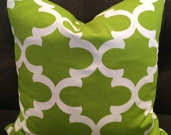 Green Trellis Down Feather Pillow